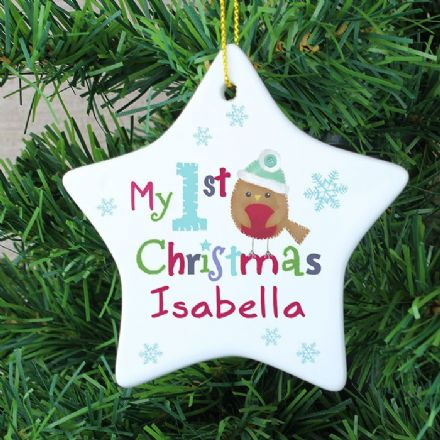 Personalised Robin My 1st Christmas Ceramic Star Decoration